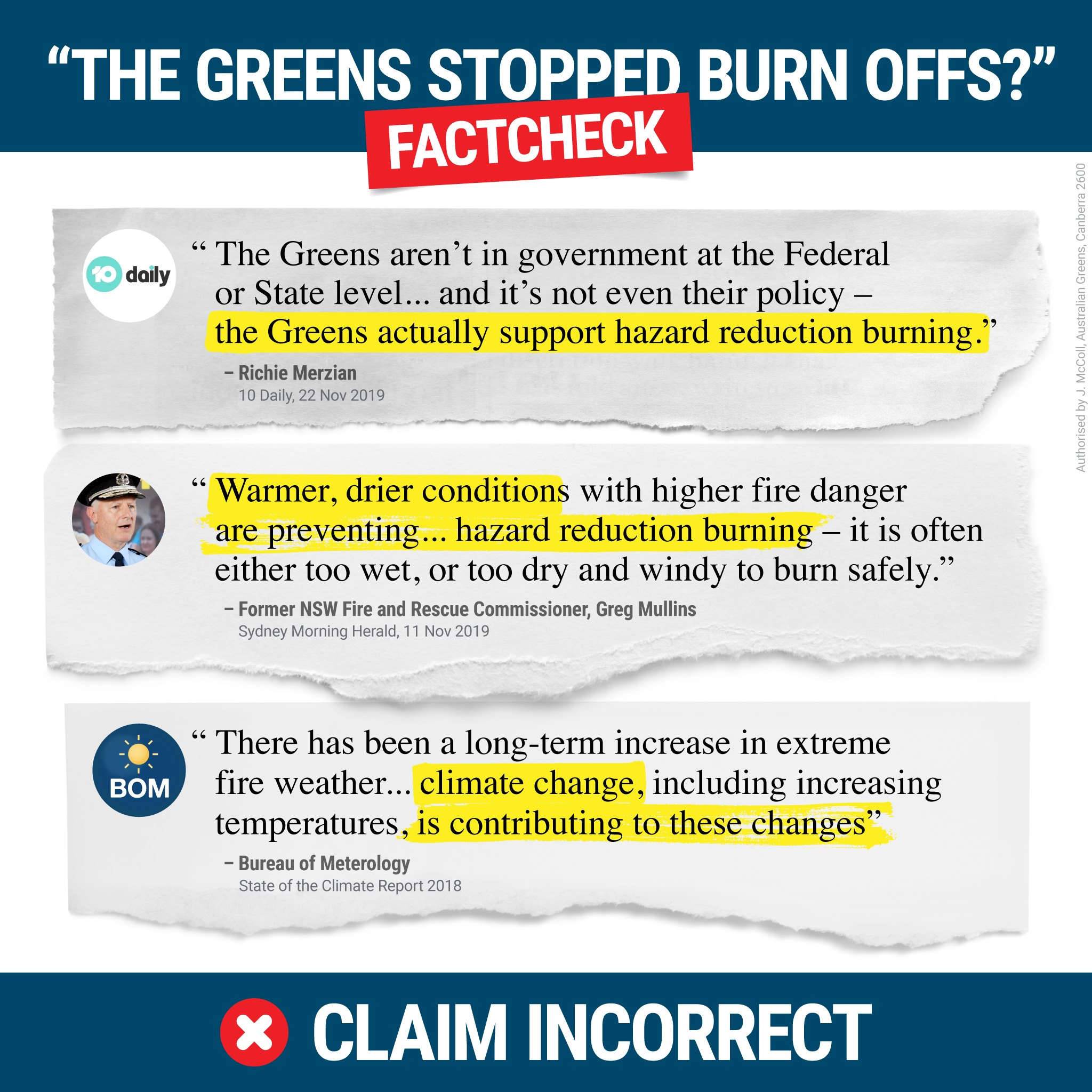 Fact check - the Greens do support hazard reduction burns