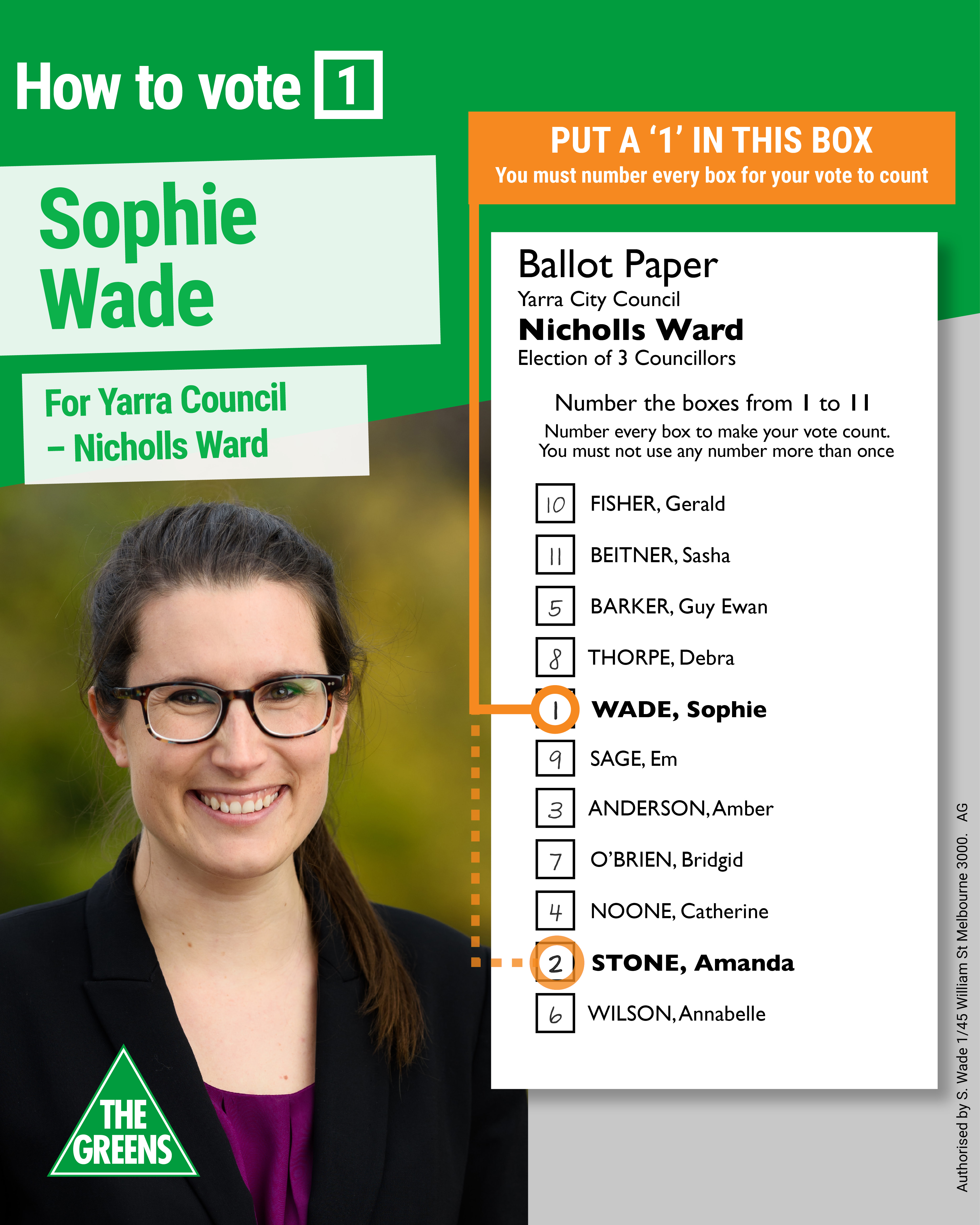 Sophie Wade how to vote card