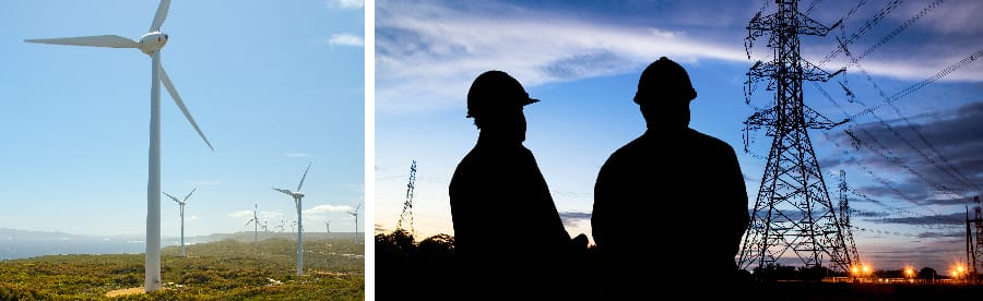 Windfarm and electricity maintenance workers