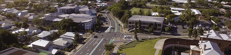 Aerial of South Brisbane showing a potential new bikeway