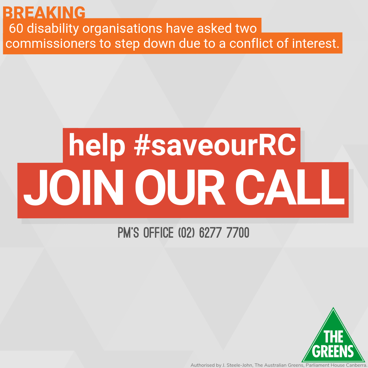 Breaking: 60 disability organisations have asked two of the Commissioners to step down due to a conflict of interest. Help #SaveOurRC. Join our call. PM's office (02) 6277 7700