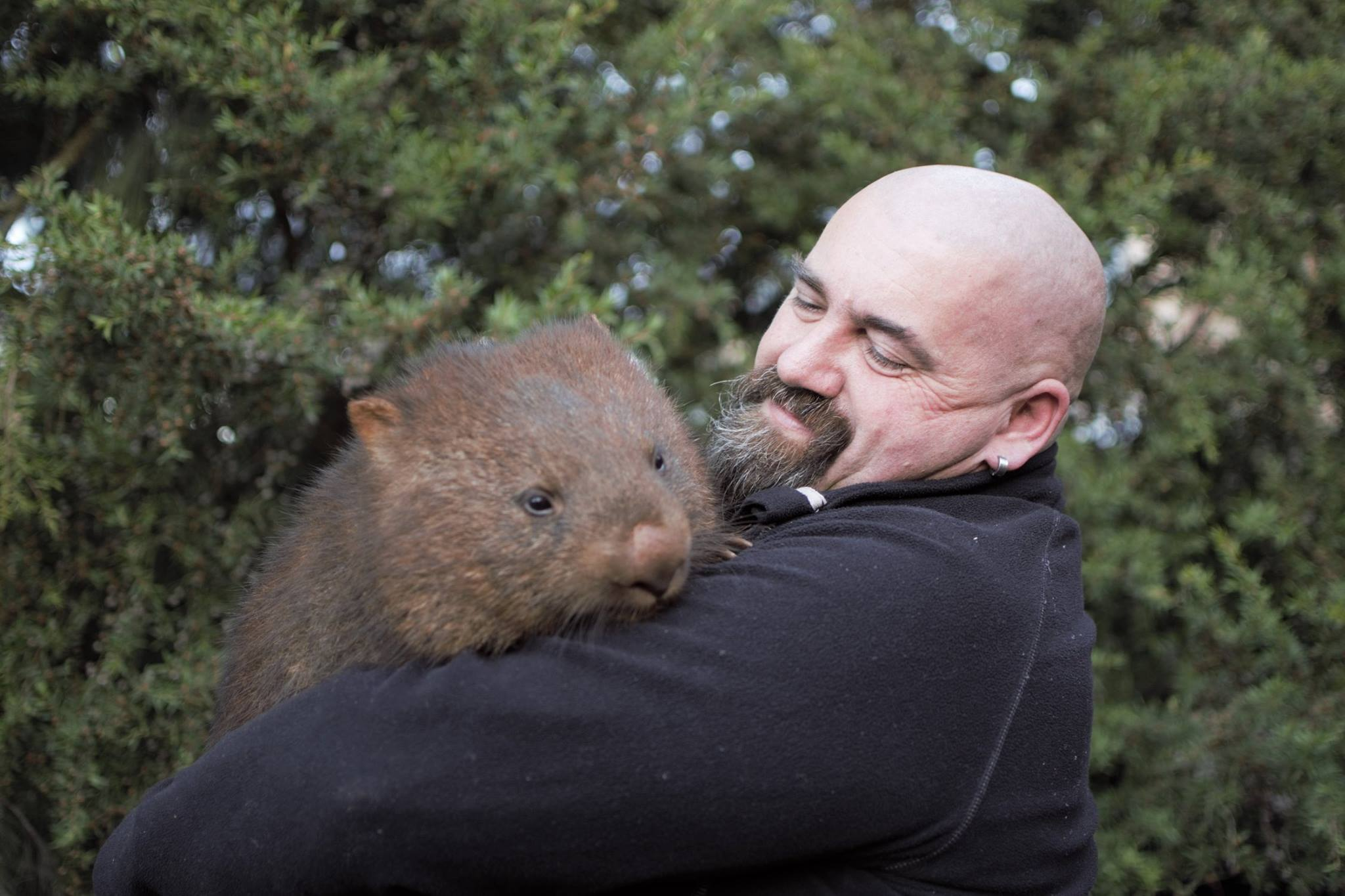 Scott Jordan with wombat