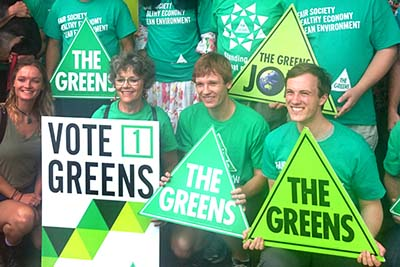 Greens supporters at a media event during 2015 Queensland Election.