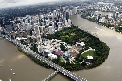 A birdseye view of Brisbane City.