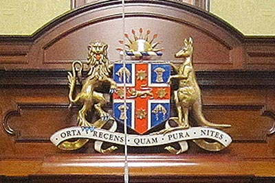 Emblem of the legislative council chamber of the Parliament of New South Wales.