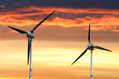 Wind turbines and solar panels - the future is in clean energy.