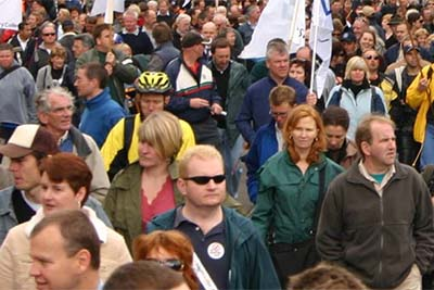 The Industrial Relations movement, an image of a protest