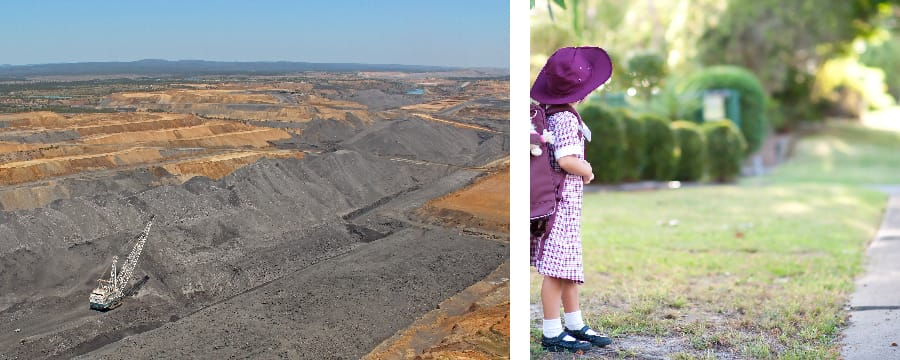 an open cut coal mine, and a girl waiting for a bus