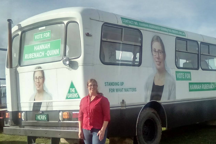 Hannah Rubenach-Quinn, candidate for Lyons and her campaign bus