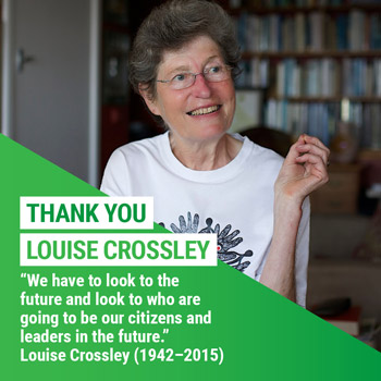 we have to look to the future and look to who are going to be our citizens and leaders in the future. — Louise Crossley (1942-2015)
