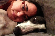 Monica Seeber with adopted greyhound Bruce