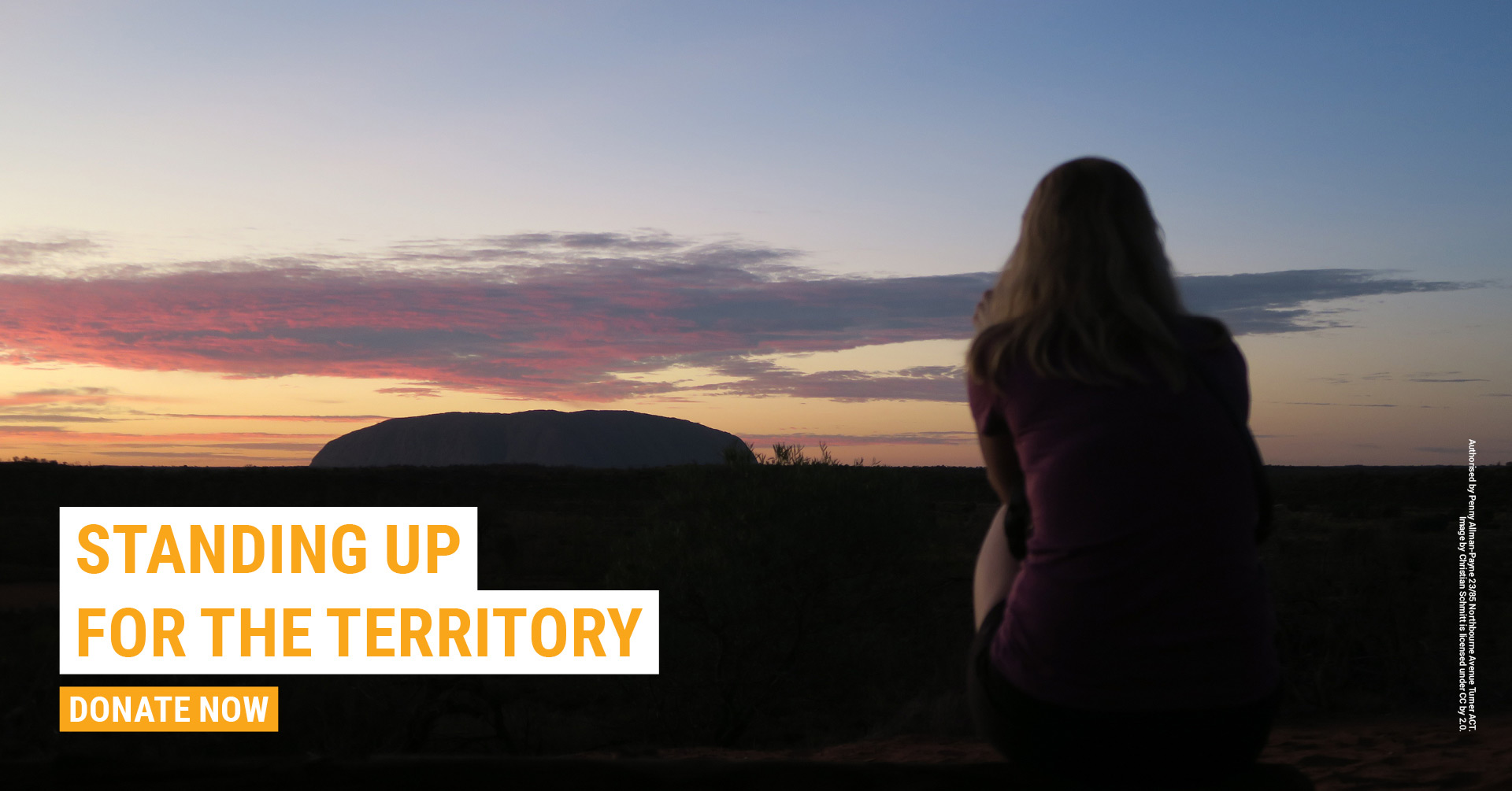 Girl sitting looking at Uluru. Text: Standing up for the Territory. Donate now.