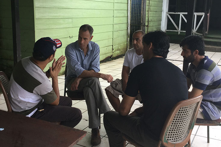 Senator Nick McKim speaks to asylum seekers on Manus Island
