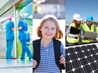 Public Infrastructure - hospitals, schools and clean energy generation and storage