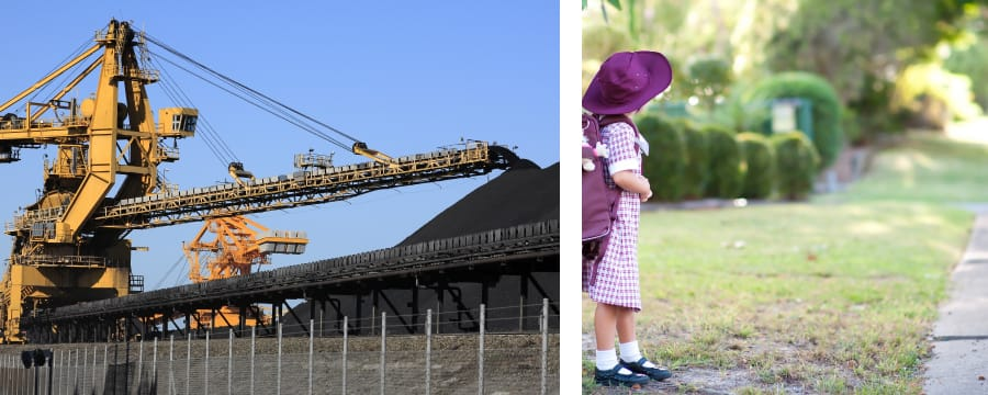 Machine dispensing a pile of coal | Girl with backpack waiting for bus