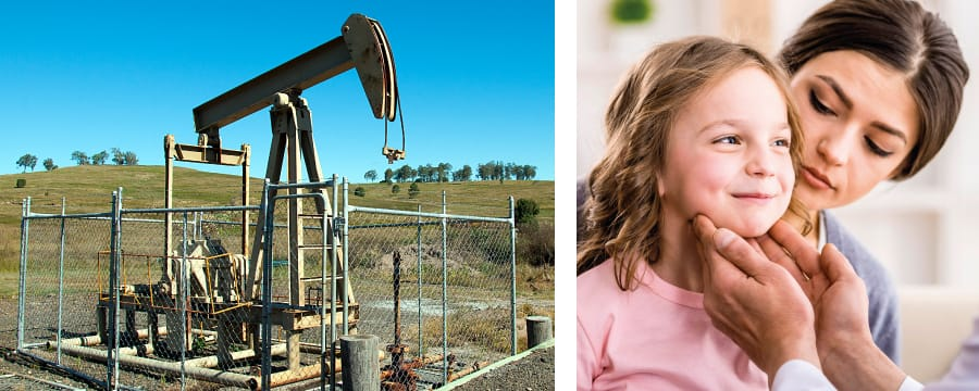 Coal seam gas well surrounded by a fence | girl sits on mother's lap during a health checkup