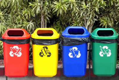 Rainbow waste bins