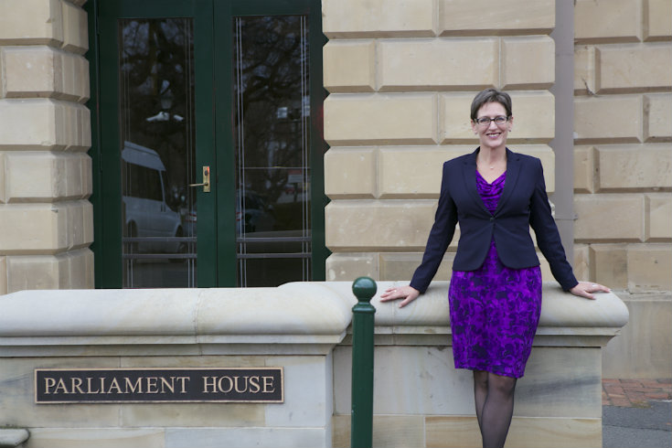 Cassy O'Connor standing outside Tasmania's Parliament House