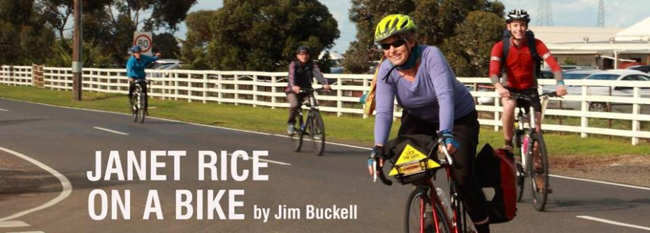 Janet Rice on a bike
