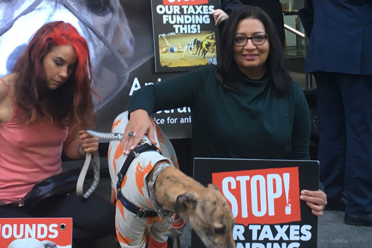 Mehreen Faruqi, NSW MP, with a greyhound at a protest to stop racing