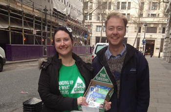Josh Wyndham Kidd and Michelle in London handing out HTV cards