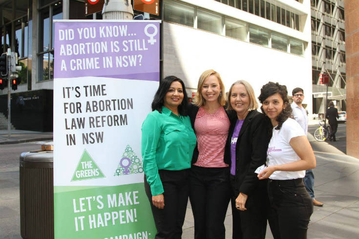 Dr Mehreen Faruqi, Senator Larissa Waters, Senator Lee Rhiannon, and an activist at Sydney rally to decriminalise abortion in 2015