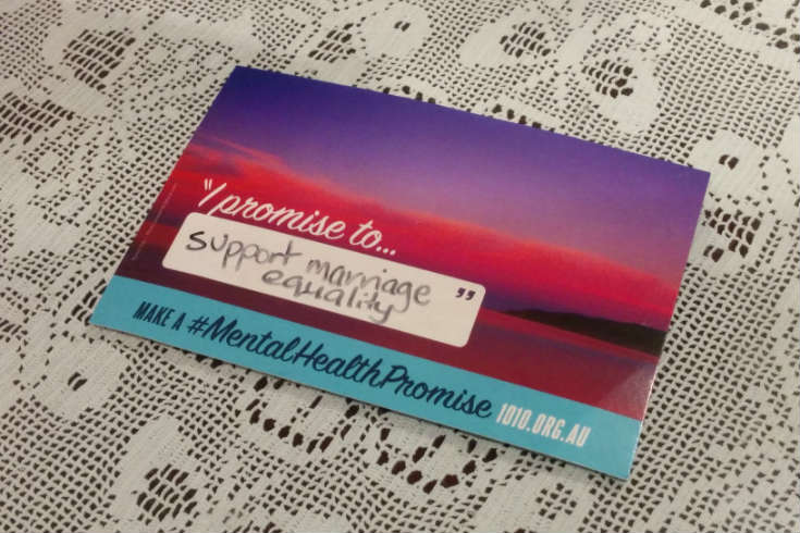 Mental Health Promise postcard with promise to support marriage equality