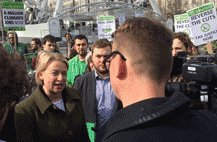 Natalie Bennett, leader of the UK Greens at a rally