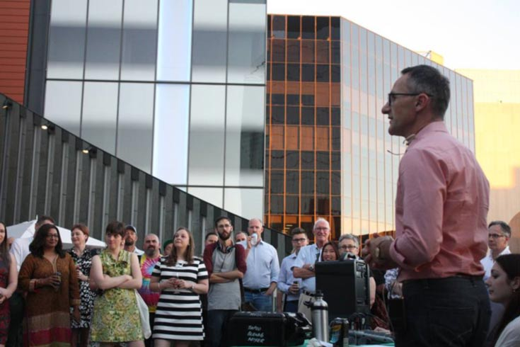 Senator Richard Di Natale speaks to the crowd at Pretty in Green, WA 2016