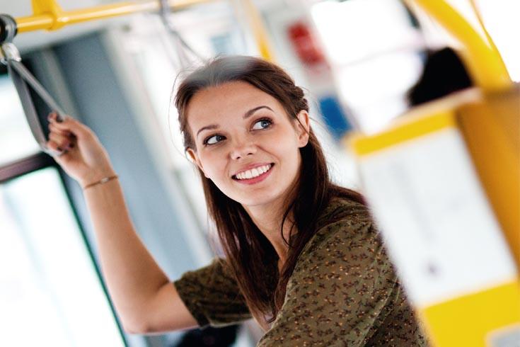 transit user - on a tram