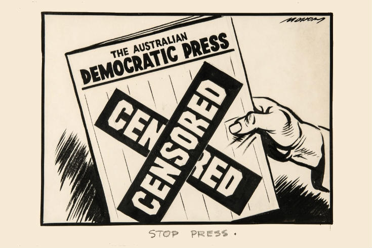 Stop Press cartoon by William Mahony, 1940. Cartoon drawing of newspaper with Censored across the front.