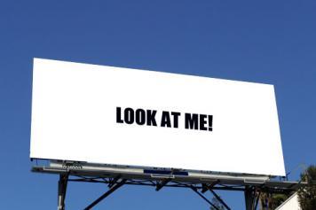 Billboard reading 'look at me!'