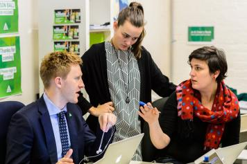 Jason Ball, Cass Stafford and Jo Maguire-Rosier at the Higgins Campaign Office 2016