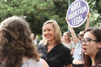 Larissa Waters at a rally