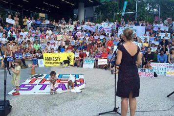 Senator Larissa Waters at the Lady Cilento vigil for Baby Asha, Brisbane, February 2016