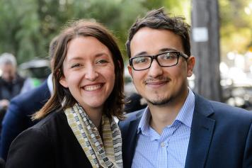 Councillor Ogy Simic with partner Steph Hodgins-May, candidate for Melbourne Ports