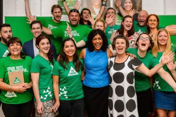 Moreland Mayor Samantha Ratnam with local election team 2016
