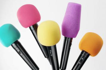 A variety of coloured microphones. Image from Huffington Post