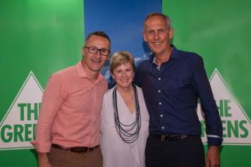 Richard Di Natale, Christine Milne, and Bob Brown at the Australian Greens National Conference 2017