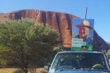 Vincent Forrester campaigning near Uluru