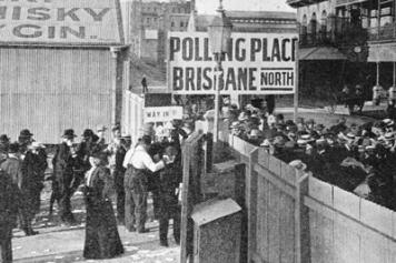 Women inside the gate of the city polling station voting for the first time in a Queensland state election May 1907 suffragette movement in Queensland