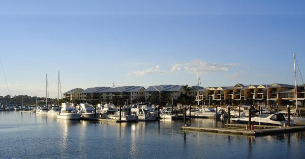Boats on the Cleveland Harbour, Redlands.