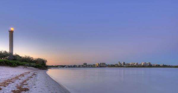 Lighthouse during sunset at Golden Beach, Queensland.
