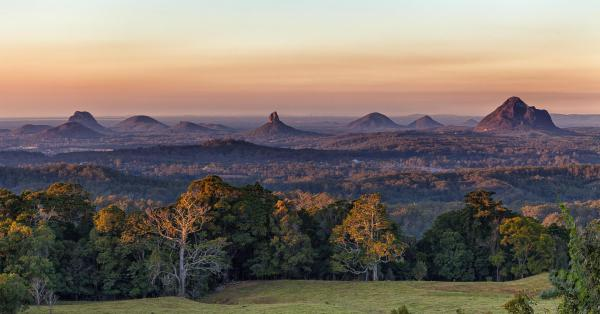 Glasshouse Mountains as seen from Mary Cairncross Park, near Maleny.