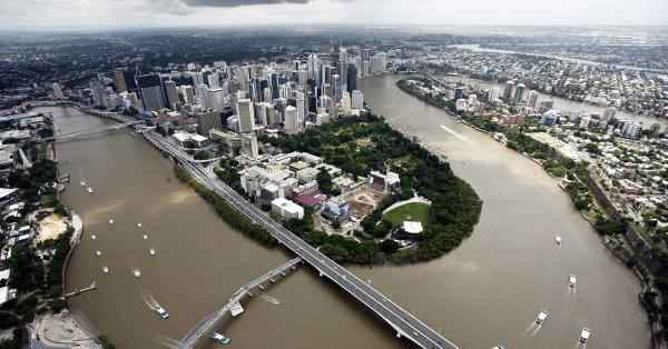 Birds eye view of Brisbane City.
