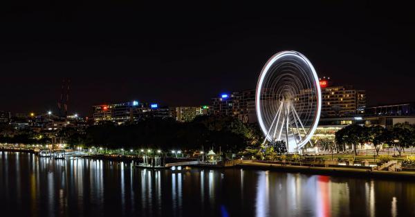 The South Brisbane wheel and Brisbane river.