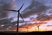 Image of a windfarm at sunset