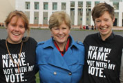 Christine Milne with young people for the Not in My Name, Not with My Vote launch
